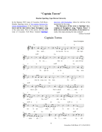 "Transcription of ""Captain Torres,"" by James Keelaghan"