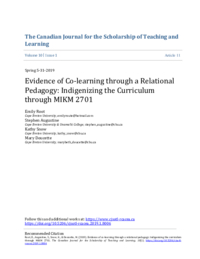 Evidence of co-learning through a relational pedagogy: Indigenizing the curriculum through MIKM 2701