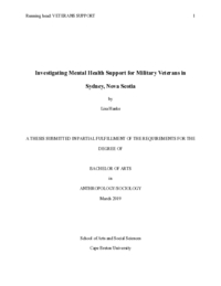Investigating mental health support for military veterans in Sydney, Nova Scotia